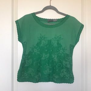 GIRLS FROM SAVOY • Green Embroidered Crop Top Sz 0
